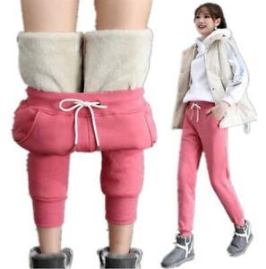 Women Winter Harem Pants Sports Jogging Stretch Faux Fur Lined Warm Sweatpants D