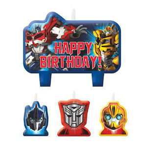 4 Piece Transformers Optimus Prime Happy Birthday Cake Decoration