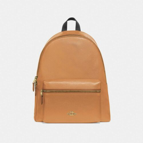 New Coach F38288 Charlie Backpack In Pebble Leather Light Saddle Brown