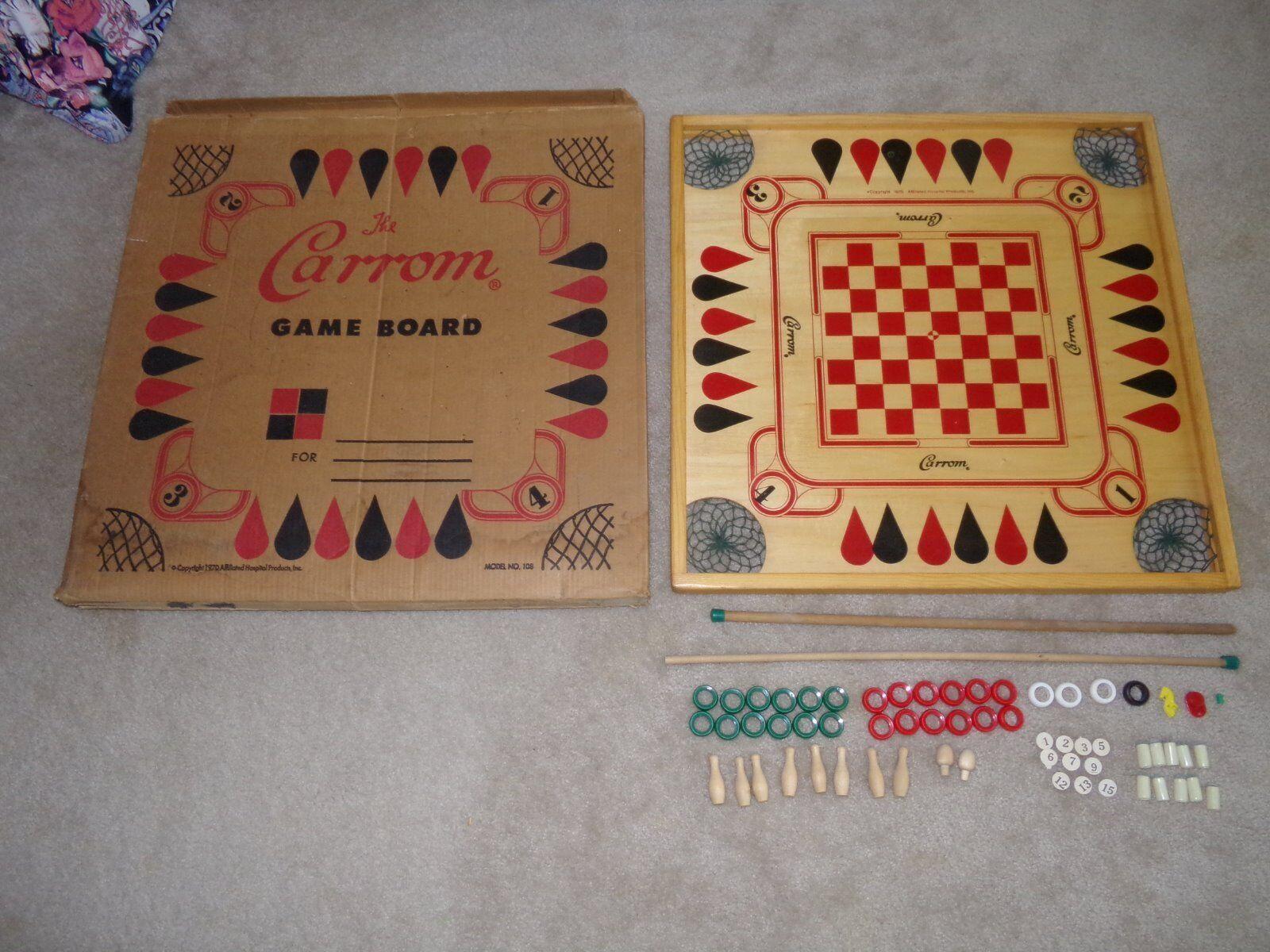 Vintage 60s  Wood CROKINOLE & autoROM gioco tavola w  scatola & gioco PCS Beautiful Cond  con il prezzo economico per ottenere la migliore marca