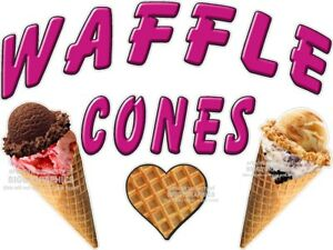WAFFLE-CONES-ICE-CREAM-VINYL-DECAL-CHOOSE-A-SIZE-STANDS-BOARDWALK-SHOPS