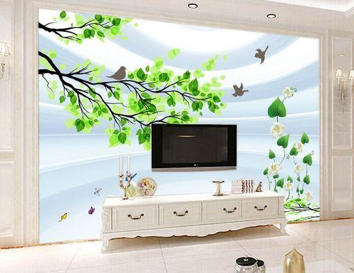 3D Foglie, uccelli 38 Parete Murale Carta da parati immagine sfondo muro stampa