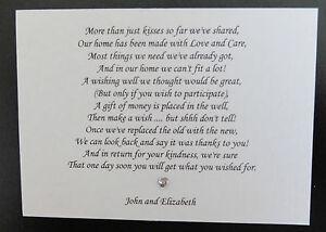 10 x handmade personalised wedding honeymoon money cash request