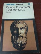 Epicuro - OPERE, FRAMMENTI, TESTIMONIANZE - 1986 - 1° Ed. Universale Laterza