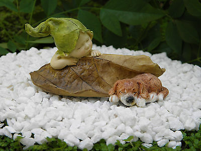 Miniature Figurine FAIRY GARDEN ~ Sleeping Leaf Fairy Baby with Puppy Dog ~ NEW