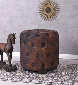 Retro-Sitzwuerfel-Hocker-Chesterfield-braun-Pouf-Vintage-Fusshocker-Sitzhocker