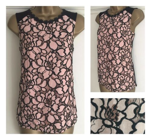 NEW EX F/&F PINK /& BLACK LACE FLORAL NECK TRIM BLOUSE TOP SIZE 6-22