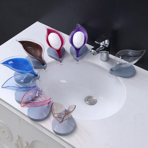 Leaf Soap Dish Holder Shelf Suction Cup Draining Bathroom Pate Rack Home Decor