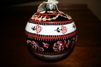 Hand Painted Christmas Ornament Glass Poland Vintage Style Round Ball Sale