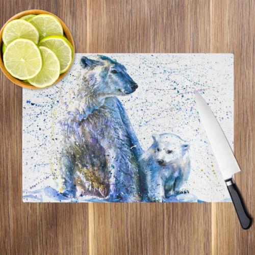 Blue Polar Bear Cub White Glass Chopping Board Kitchen Worktop Saver Protector