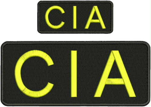 CIA EMBROIDERY PATCH 4X10 AND 2X5 hook on back BLK//YELLOW