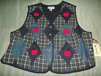 Women's Plus Bechamel Plaid Apple Vest Sz 2x