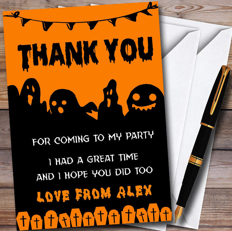 Scary Ghosts Personalised Graves Halloween Party Thank You Cards 61150e