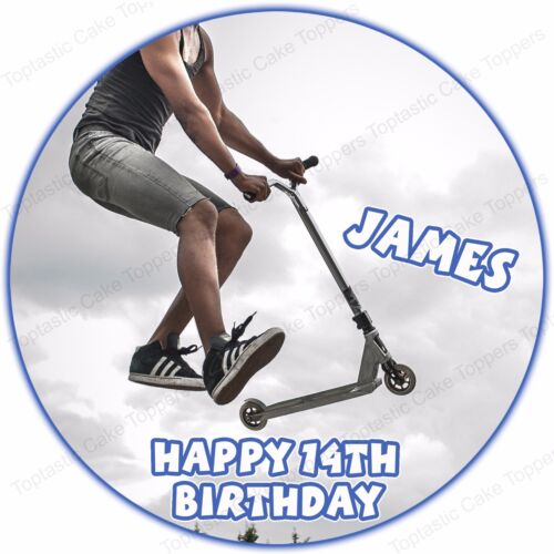 Personalised Stunt Scooter Round Edible Icing Birthday Party Cake Topper