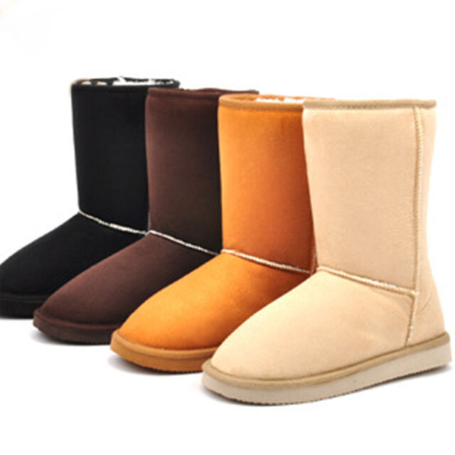 Women's Winter Warm Fur Suede Snow Boots Flat Heel Mid-Calf High Boots Shoes