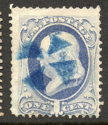 US Franklin 1c Banknote Fancy Cancel Stamp ex. Hubert Skinner Collection #20