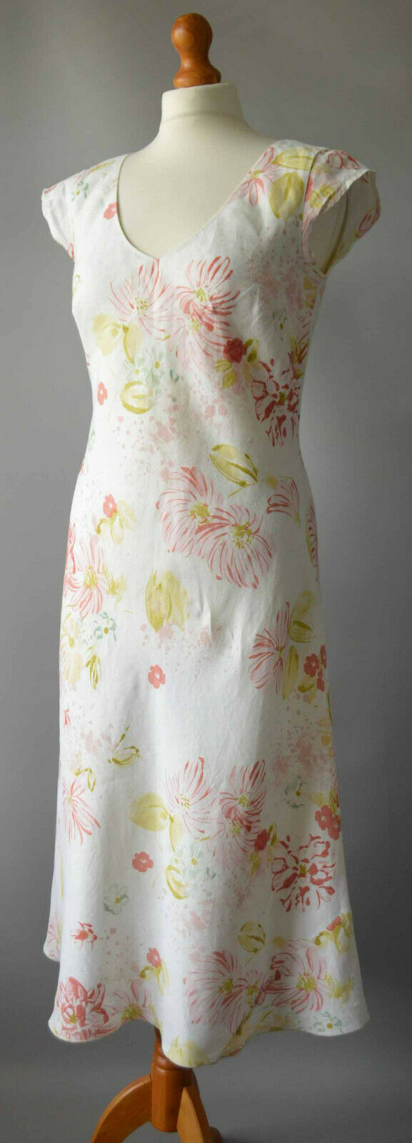 Ladies Patsy Seddon For Phase Eight White & Pink Floral Linen Dress Size UK 12
