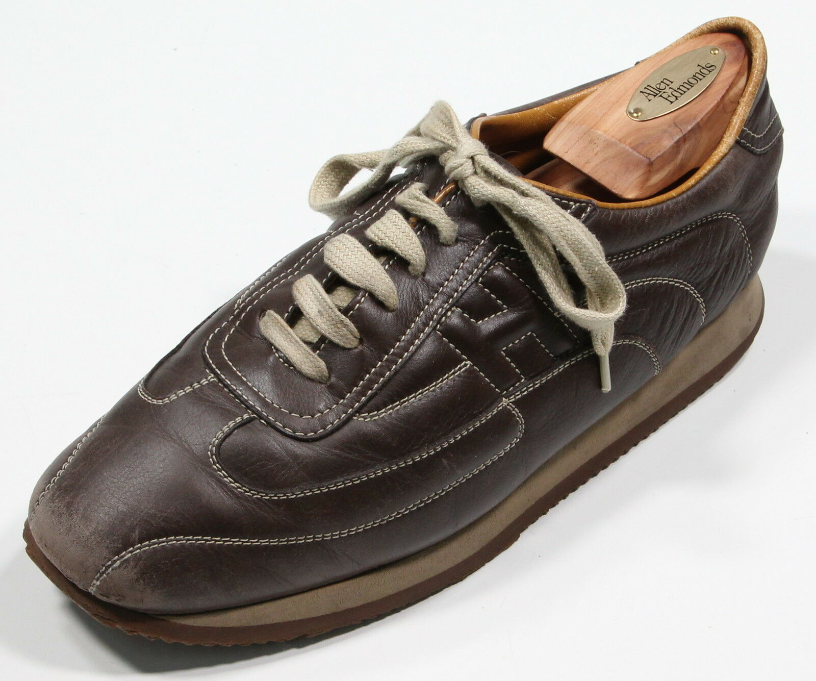 HERMES  Paris Brown 'Quicker' Leather H Logo Stitched Sneakers Eu 40 - US 7