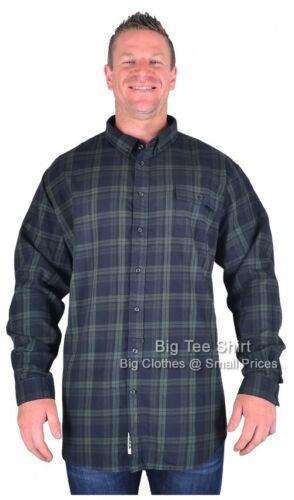 BIG Da Uomo Navy Verde D555 ANGELO Camicia a maniche lunghe 3xl 4xl 5xl 6xl