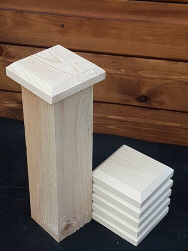 """6 fence post caps 4/""""×4/""""/""""x1/"""" to suit 3/""""×3/"""" posts"""