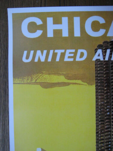 """United  Airlines 11/"""" x 17/"""" Collector/'s Travel Poster Print B2G1F Chicago"""