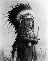 11x14 Native American Photo: Young Indian Boy, Future Warrior Of Cheyenne