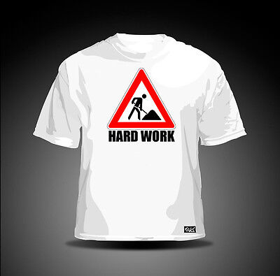 """EAKS® HERREN T-SHIRT """"HARD WORK / BAUSTELLE"""" weiß Schild Bau Arbeiter Straßenbau"""