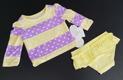 BNWT Girls Sz 000 Cute Rose Petal Rashie Long Sleeve Swim Suit Set UPF 40+