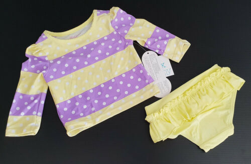 BNWT Girls Sz 000 Cute Lemon Purple Rashie Long Sleeve Swim Suit Set UPF 40+