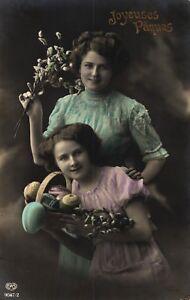 Marque Populaire Pâques, Mère Avec Fille, Col. Photo-ak, 1913 In Gand/gare Sud Expédiés-afficher Le Titre D'origine CaractèRe Aromatique Et GoûT AgréAble