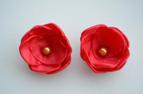 Handmade pair of red hair flowers clips Christmas hair clips accessory girls