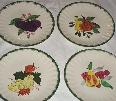 "Blue Ridge Southern Pottery County Fair Green Salad Plates Fruit 8.5"" Set of 4"
