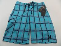 Hurley Puerto Rico Mens Blue Plaid Boardshorts Size 30