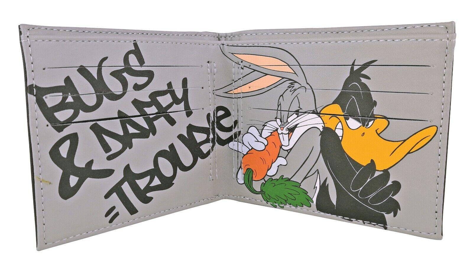Mens Novelty Faux Leather Cartoon Looney Tunes / Flintstones Slim Bifold Wallet