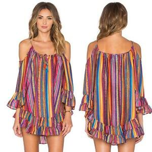 Women-Summer-Off-Shoulder-Rainbow-Print-Beach-Dress-Loose-Chiffon-Strap-Dress