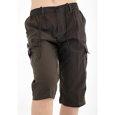 MENS PLAIN ELASTICATED SHORTS COTTON CARGO COMBAT SUMMER HOLIDAY CASUAL PANT NEW