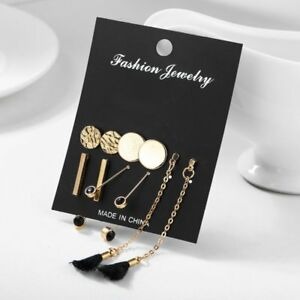 Details About 5pairs Set Fashion Tel Round Earrings Women Trendy Statement Long Jewelry