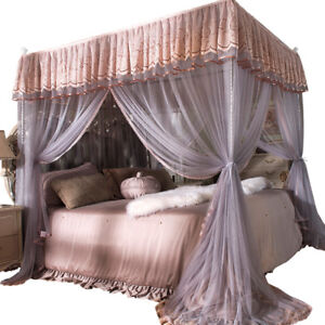 Details about Princess 4 Corner Post Bed Curtain Canopy Mosquito Net Or Bed  Canopy Frame