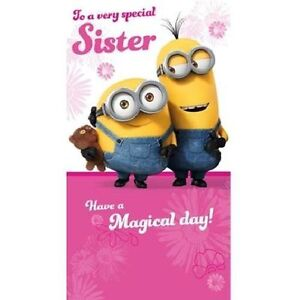 Image Is Loading DESPICABLE ME MINIONS Birthday Card SISTER