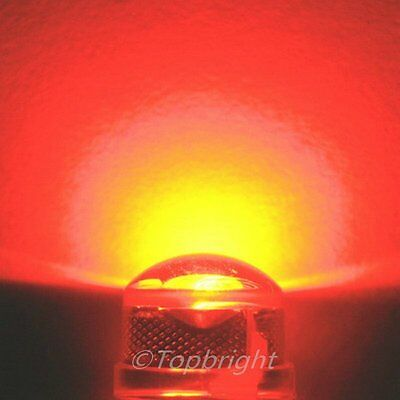50 PCs HP 1W 8mm 140° StrawHat 660nm RED LED 180,000mcd