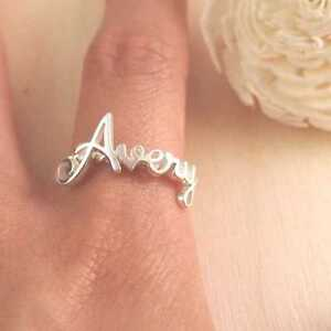 ring charlotte name centime font raw stacking set rings rtc gift