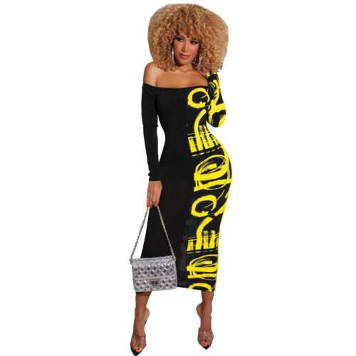 Fashion Women Lovely Printed Off Shoulder Long Sleeves Bodycon Club Party Dress