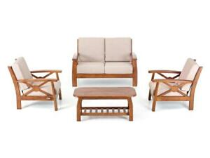 Divano 2 posti in legno con cuscini tavolino 2 poltrone cuscino set completo
