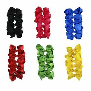 Set-of-6-Large-Ribbon-Hair-Bow-Cheer-Dance-Team-Blue-Black-Pink-Red-Yellow-Green