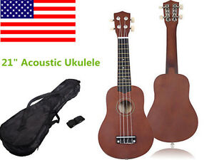 """21"""" Acoustic Ukulele Musical Instrument Guitar Coffee High Quality Professional"""