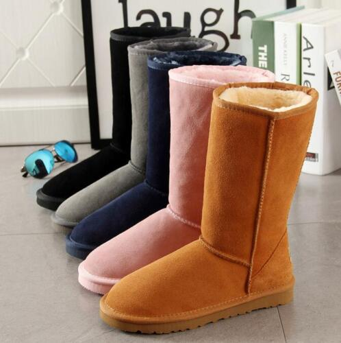winter women leather suede Mid-Calf snow boots fur lining fleece shoes boots
