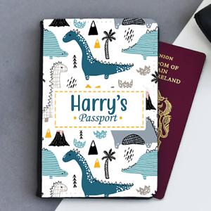 Personalised Custom Dinosaurs Boys Kids Children/'s Passport Holder Cover