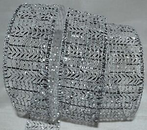 wired ribbon sheer glitz metallic silver mesh net wreath bow ebay