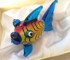 CHINA PUFFY FISH MULTICOLORED HAND BLOWN GLASS ART VTG Original Box