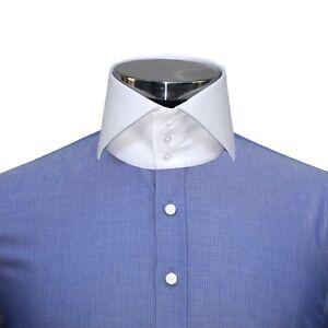 Los Angeles a0e7f b1266 Dettagli su Da Uomo Alta colletto della camicia blu navy pin Strisce Da  Uomo Camicia Abito Cotone Collo Alto- mostra il titolo originale